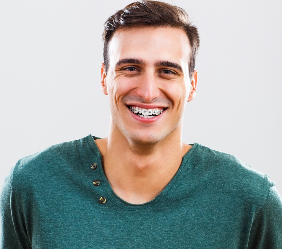 Man wearing adult braces